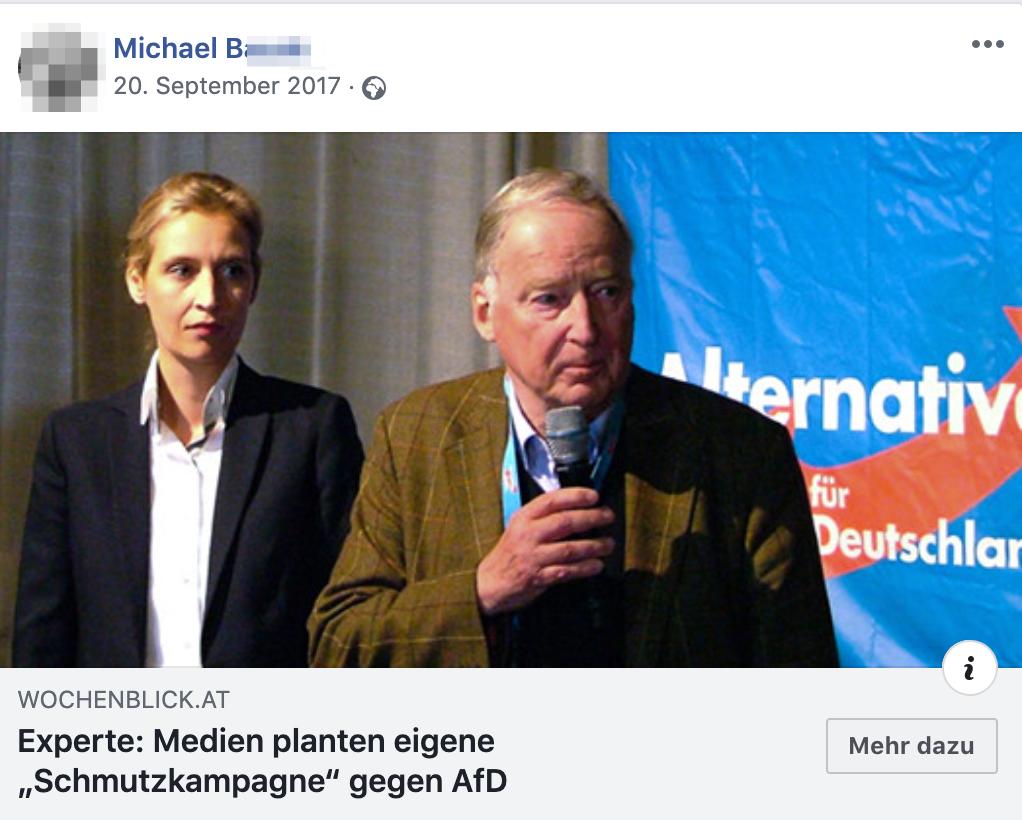 "Michael B teilt den ""Wochenblick"""