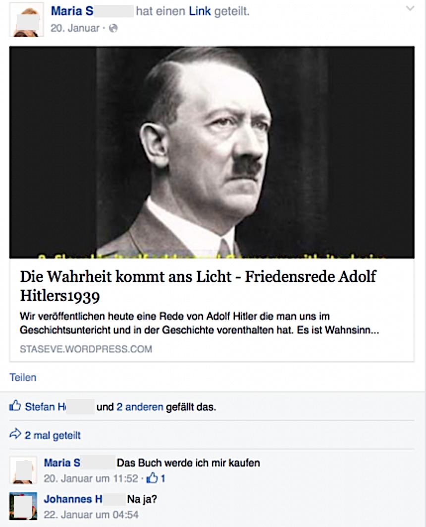 "Maria S. teilt die ""Friedensrede Adolf Hitlers"""