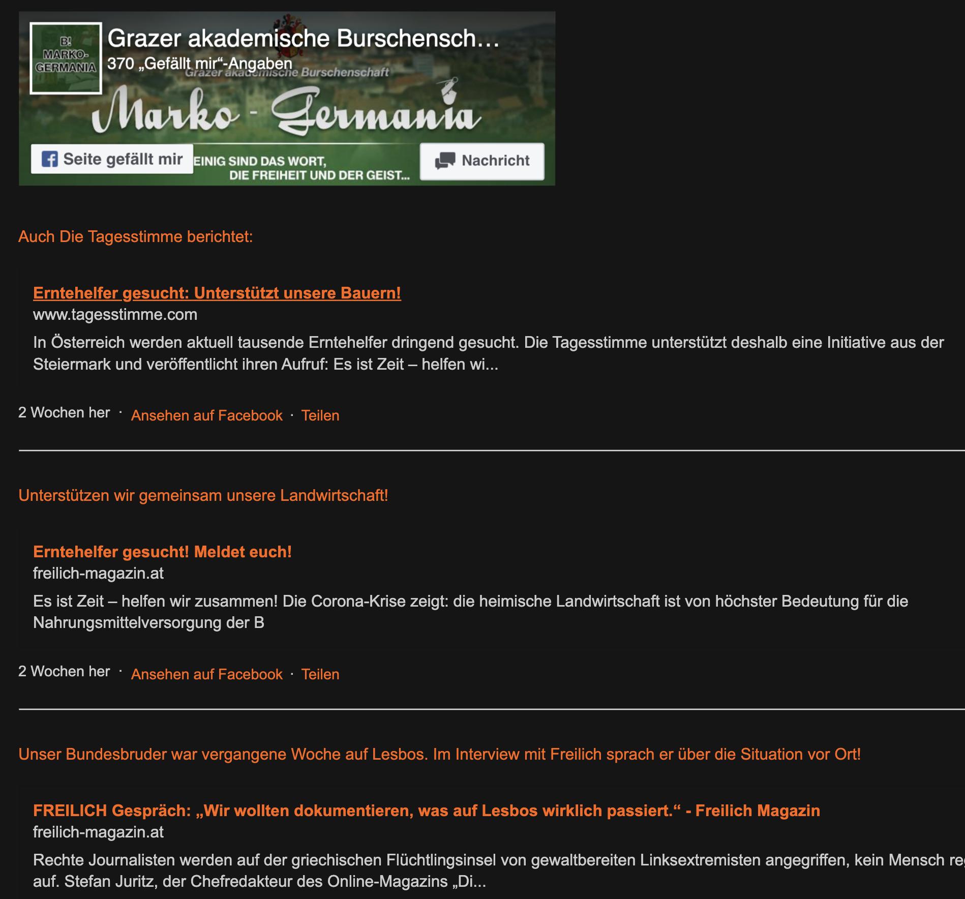 """Die Grazer Burschenschaft Marko-Germania ruft mit """"Freilich"""" und """"Tagesstimme"""" zum Ernteeinsatz auf."""