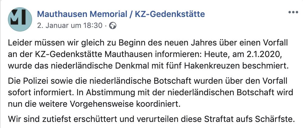 Mitteilung der KZ-Gedenkstätte Mauthausen (2.1.20)
