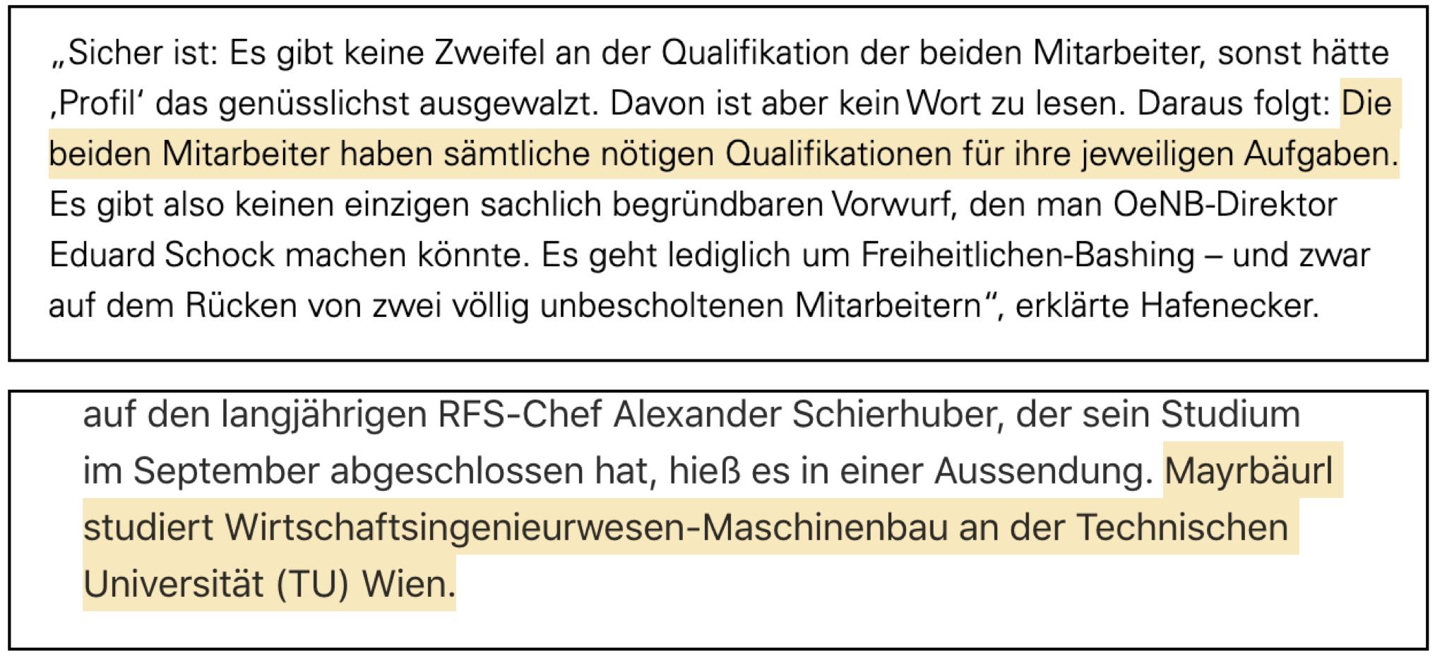 OTS Hafenecker und Studium Mayrbäurl (nach Angabe des RFS)