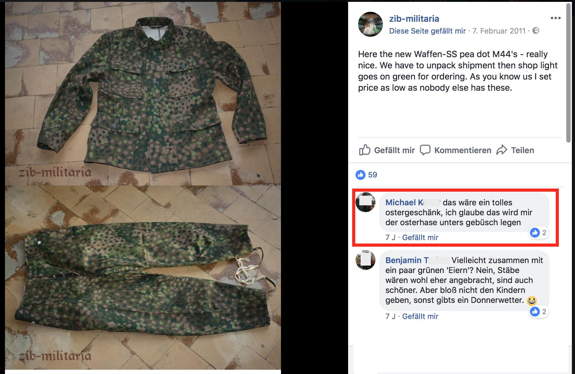 """Michael K. will sich eine SS-Uniform als """"Ostergeschänk ... unters gebüsch legen"""" (Screenshot 5.6.18)"""