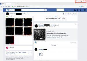 """Screenshot vom 24.8.18: Account von Michael K. mit """"braunen"""" Postings ist noch immer online."""