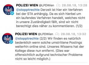 Reaktion LPD-Wien (via Twitter)
