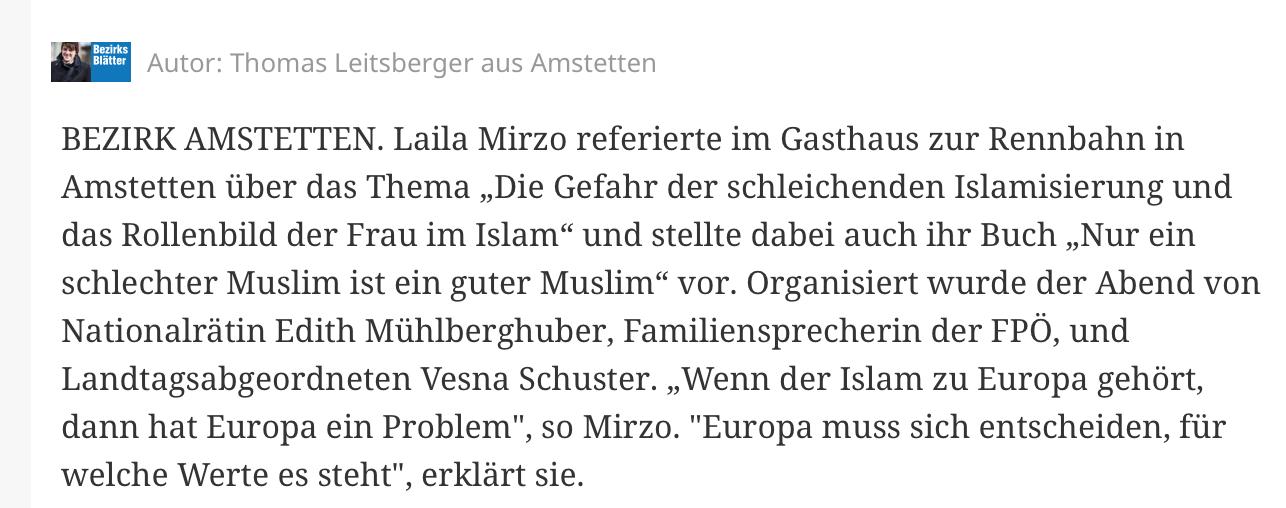 Laila Mirzo in Amstetten