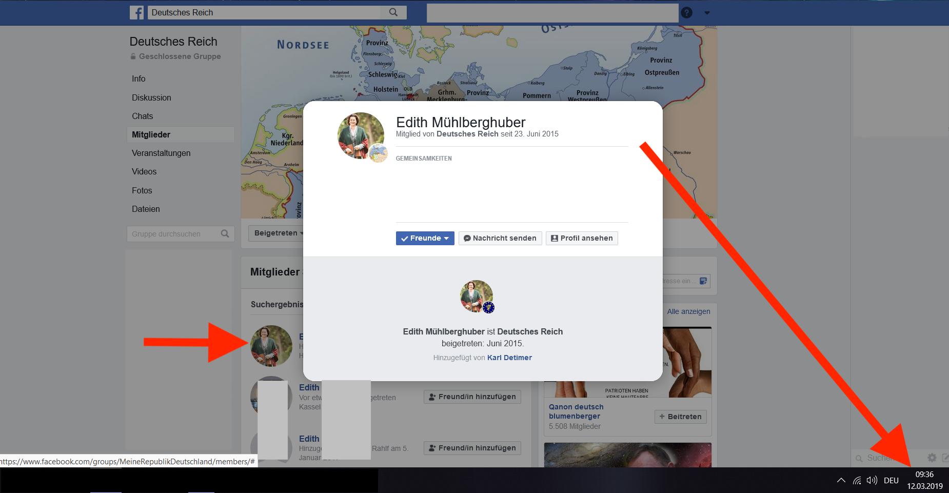 """Screenshot Mitgliedschaft Mühlberghuber Gruppe """"Deutsches Reich"""" 12.3.19, 9h36"""