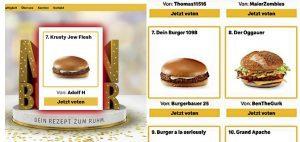 Nazi-Burger von Adolf H auf Platz 7, dann umbenannt
