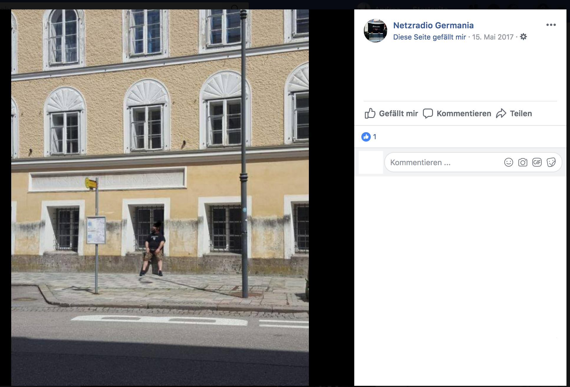 Führung und Besuch beim Hitlerhaus in Braunau anlässlich des Fylgien-Konzerts bei der Germania Ried (Screenshot Facebook, 16.6.18)
