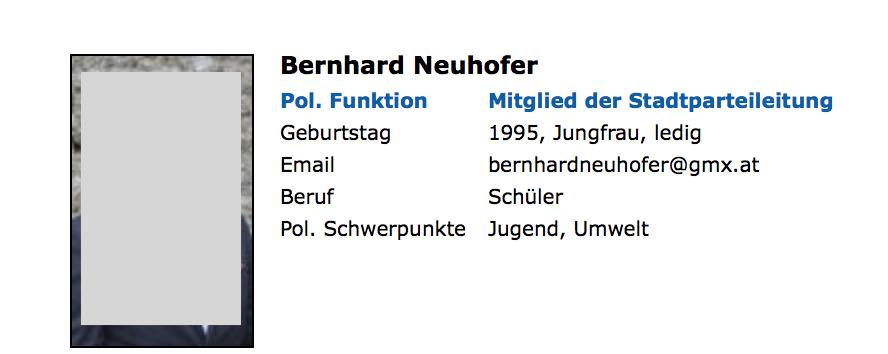 Bernhard Neuhofer bis Februar 2018 auf der FPÖ-Website als Mitglied der Stadtparteileitung Seekirchen