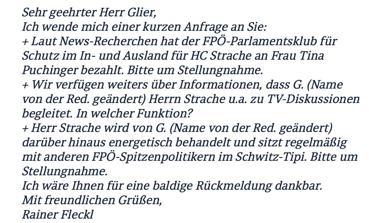 """""""News"""" in einer Anfrage an den FPÖ-Pressemitarbeiter Martin Glier (22.5.2015)"""