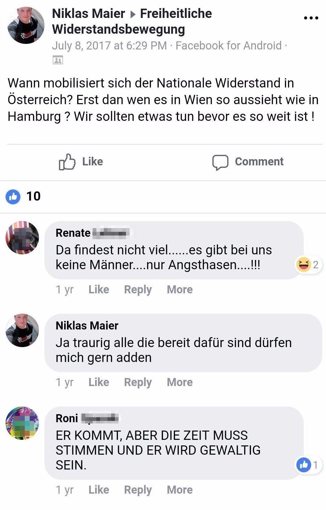 """Niklas Maier im """"Nationalen Widerstand"""""""