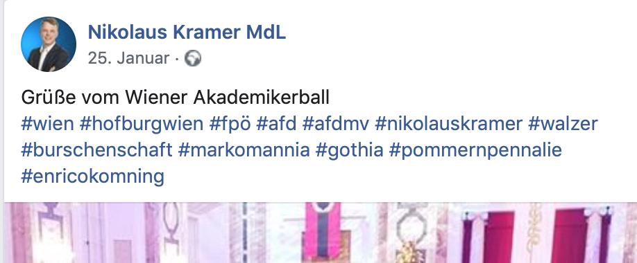 Der Burschenschafter Nikolaus Kramer facebookt 2019 vom FPÖ-Akademikerball