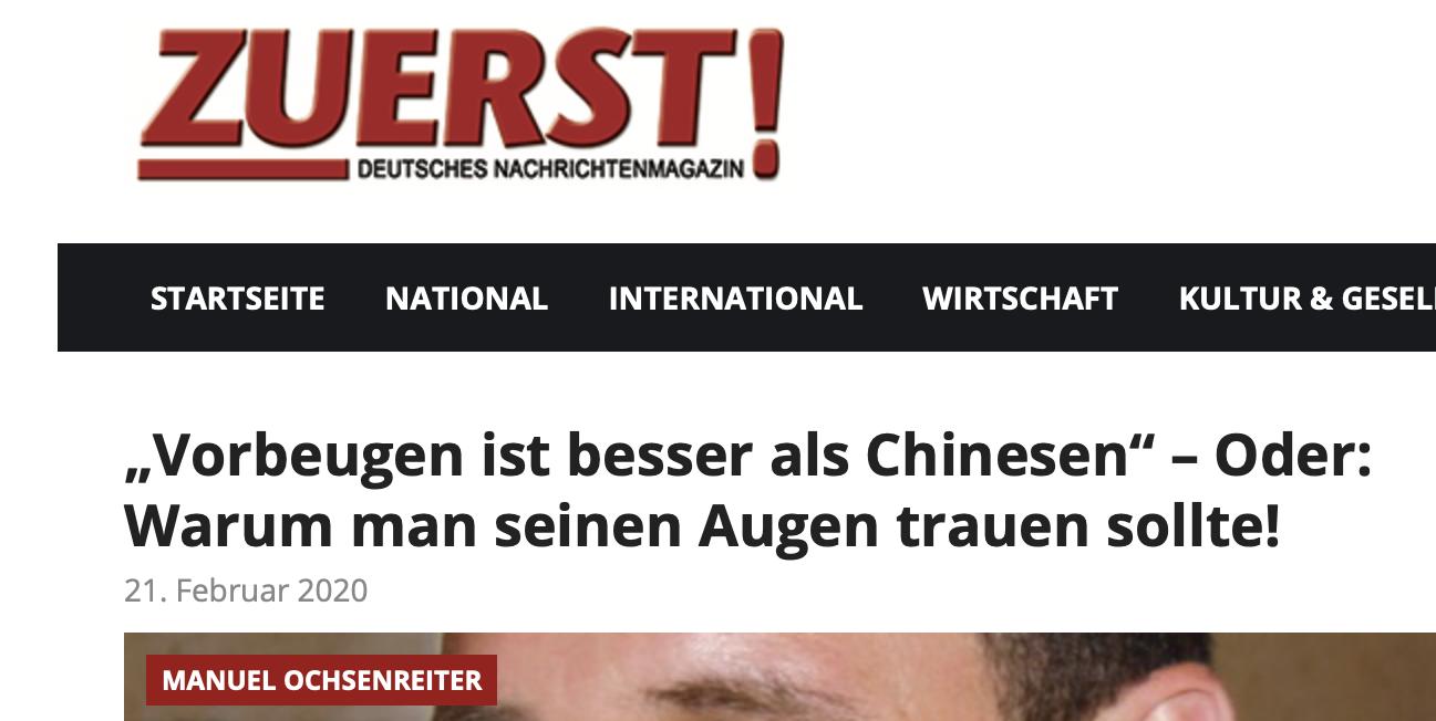"""Ochsenreiter in """"Zuerst"""" Febr. 2020"""