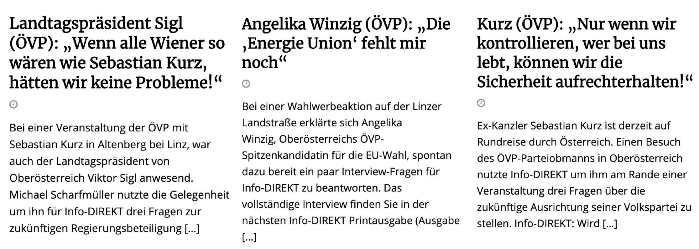 """3 x ÖVP in """"Info-Direkt"""": Sigl, Winzig und Kurz"""