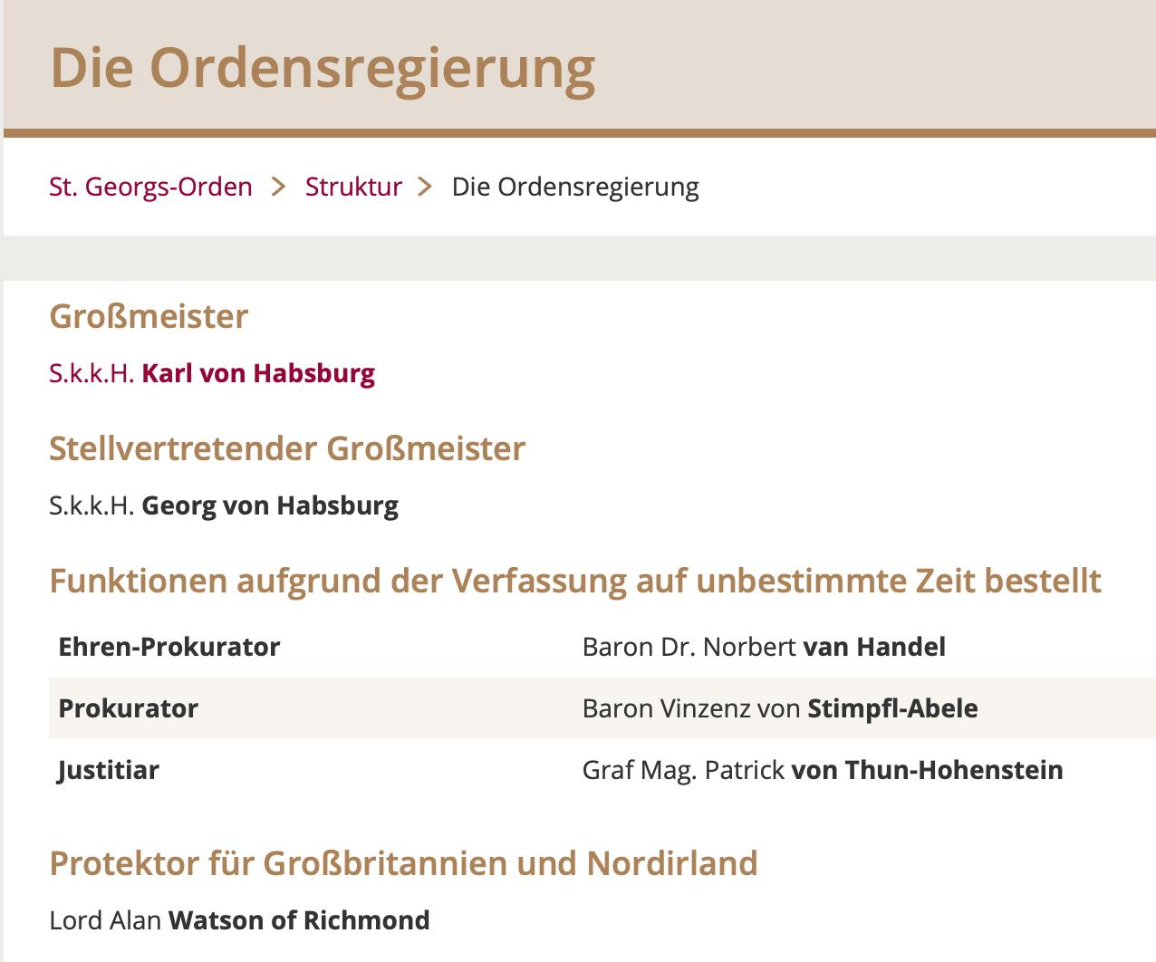 """Die """"Ordensregierung"""" des St. Georgs-Orden: streng monarchisch"""