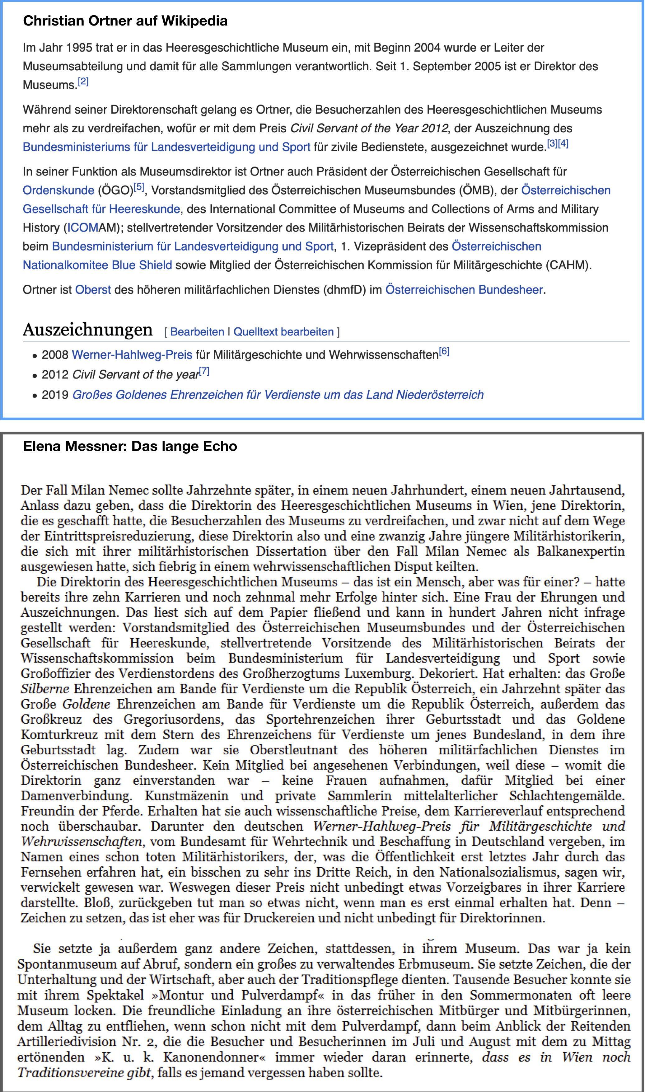 Museumsdir. Ortner im Wikipedia-Eintrag und Ausschnitt Elena Messner, Das lange Echo