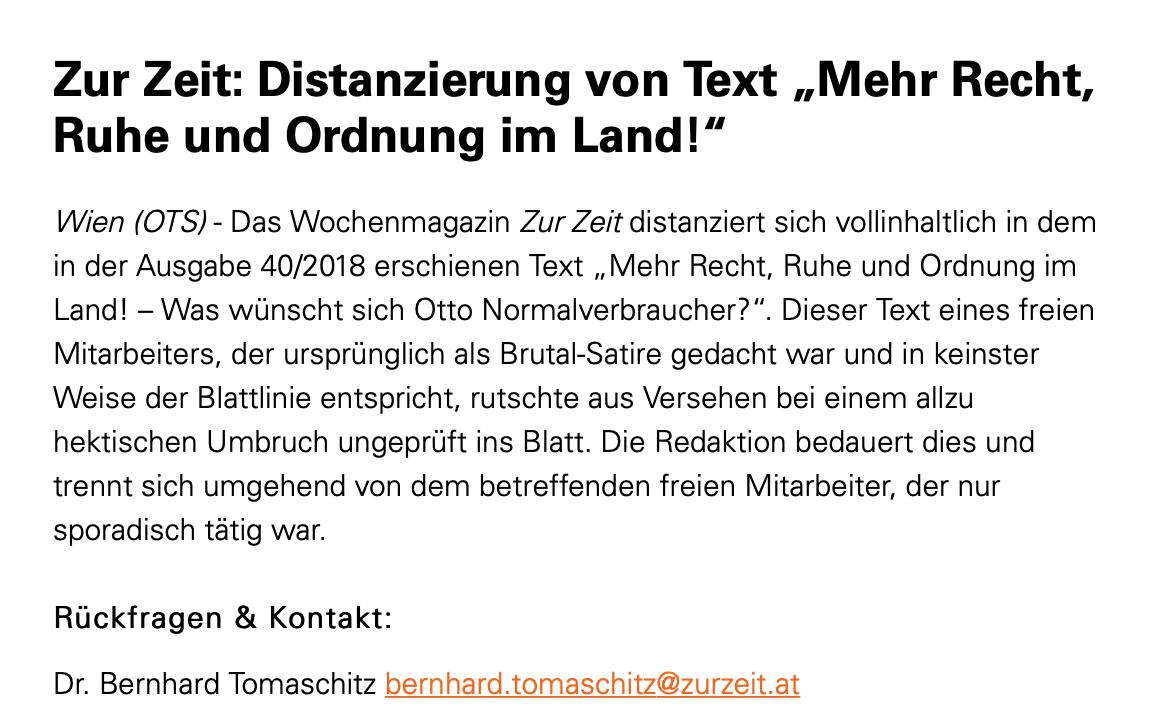 """Presseaussendung """"Zur Zeit"""" vom 15.10.18"""