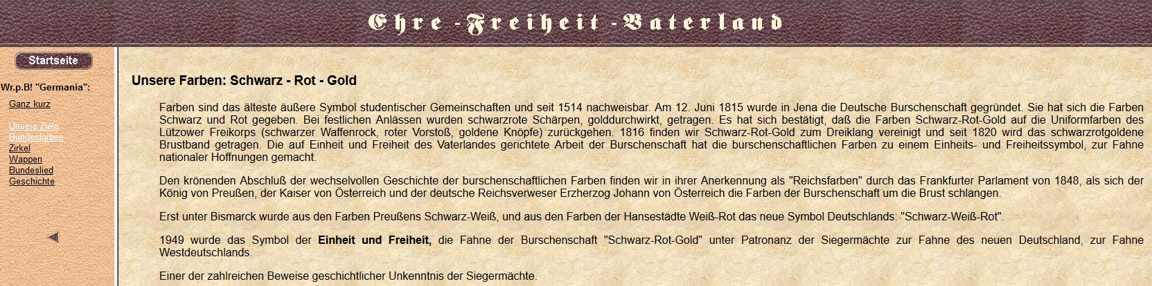 über die Bundesfarben der pB Germania Wien: Schwarz-Rot-Gold (Screenshot Website Germania Wien, 2019)