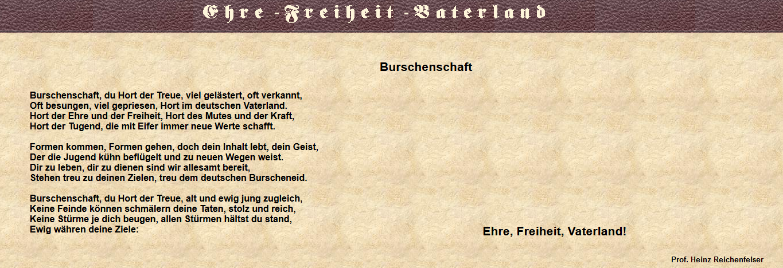 "Geleitgedicht der pB Germania Wien: ""Burschenschaft, Du Hort der Treue"" (Screenshot Website Germania Wien, 2019)"