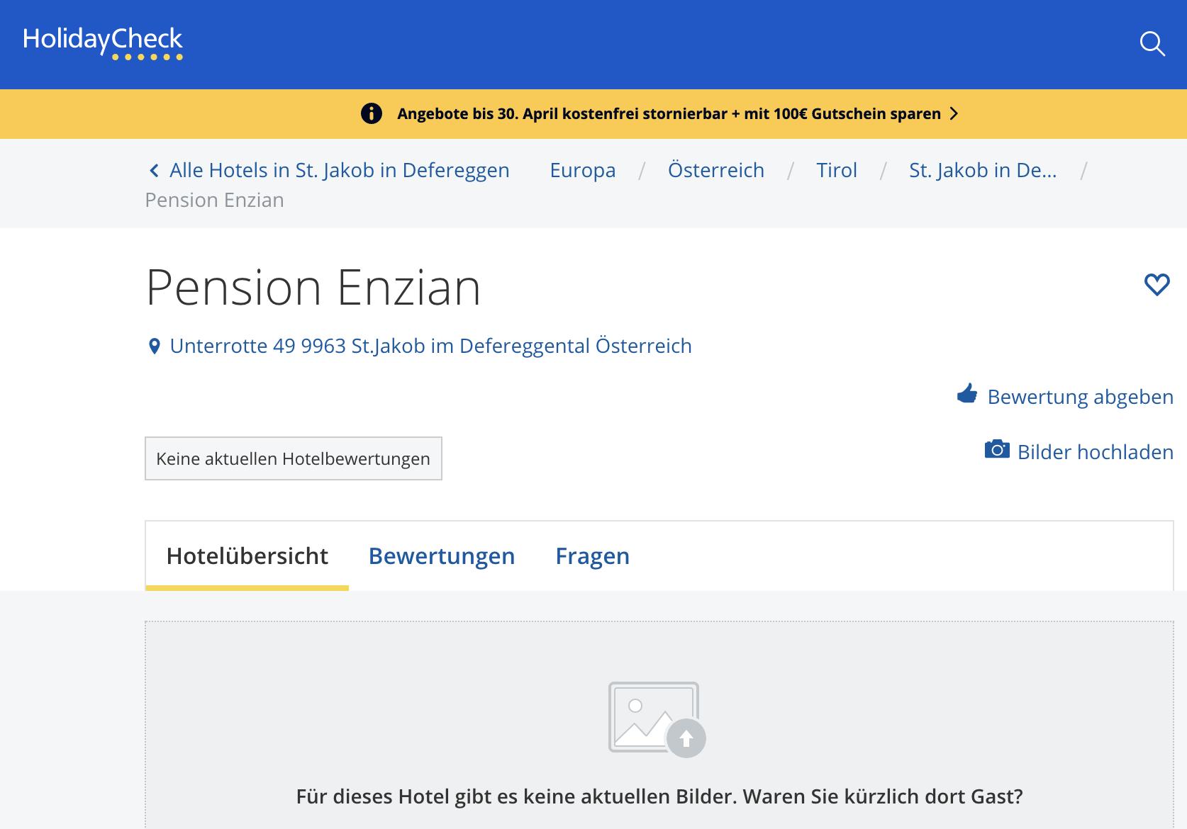 Pension Enzian auf dem Buchungsportal: keine Bilder, keine aktuellen Bewertungen, nicht buchbar