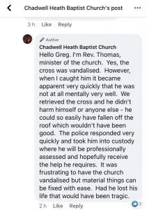 Pfarrer der betroffenen Kirche von Chadwell in einer Stellungsnahme