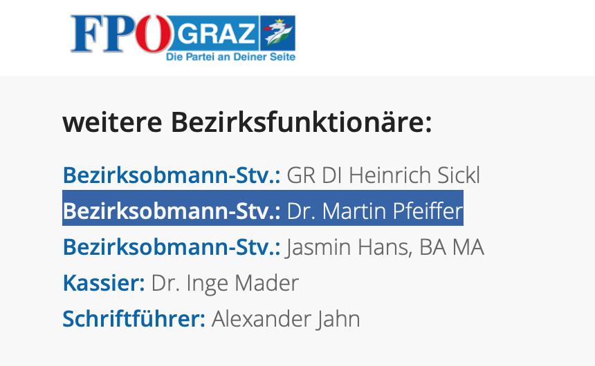 Martin Pfeiffer auf der FPÖ-Website als Bezirksobmann-Stellverteter in der FPÖ St. Leonhard/Graz