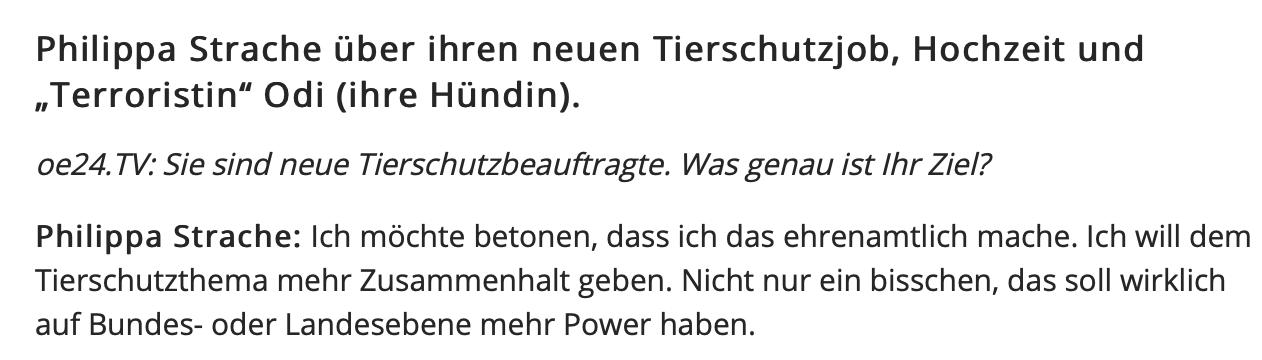 """Philippa Strache in oe24.TV 13.9.18: """"Ich möchte betonen, dass ich das ehrenamtlich mache."""""""