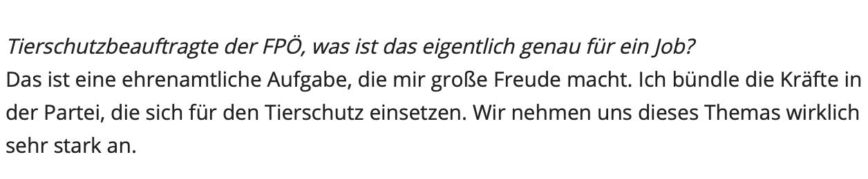 """Philippa Strache in Kronen Zeitung 31.3.19: Tierschutzbeauftragte ist """"eine ehrenamtliche Aufgabe"""""""
