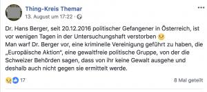 Neonazi-FB-Seite vermeldet Tod von Hans Berger