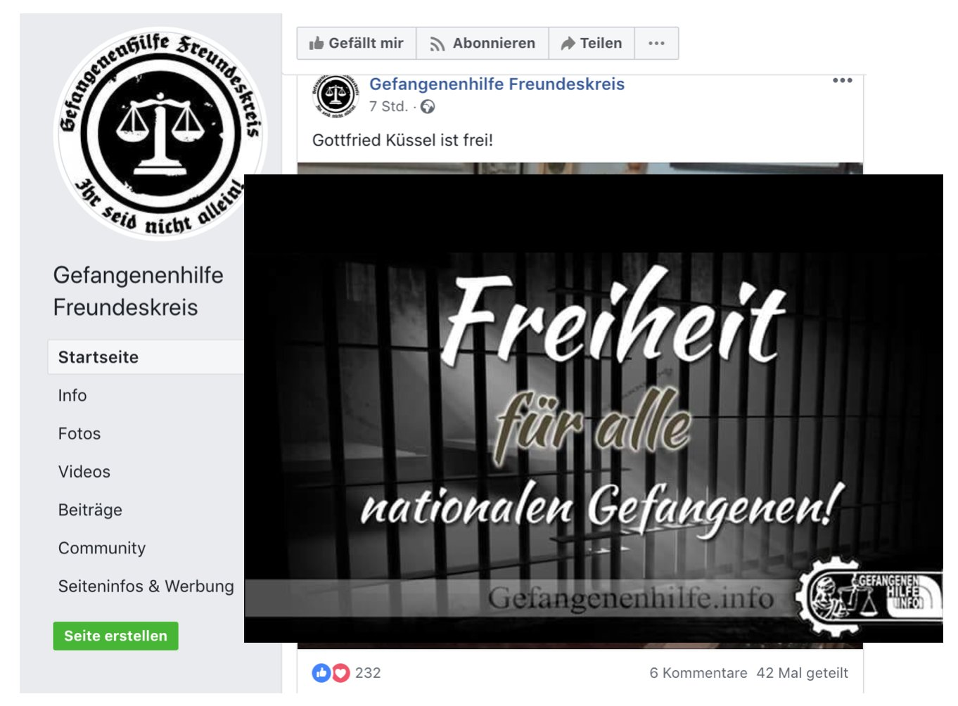 """Küssel wird von der """"Gefangenenhilfe Freundeskreis"""" begrüßt (Screenshot Facebook, Headerbild über Foto von Küssel montiert)"""