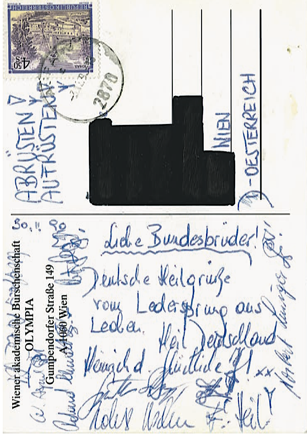 Postkarte Strache 1990 (Foto: Falter)