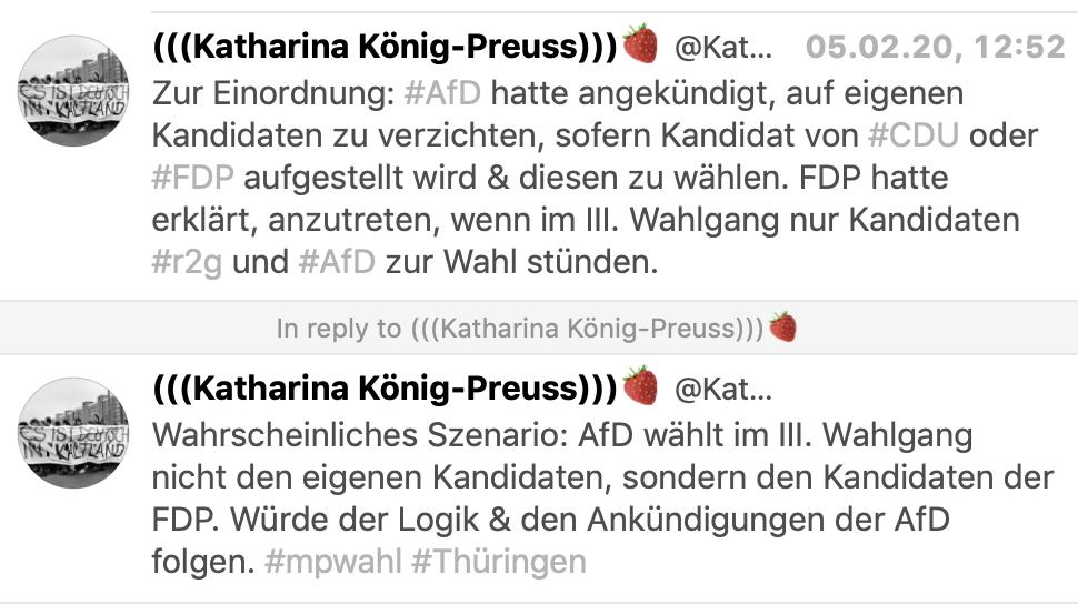 """Katharina König-Preuss (Die Linke Thüringen): """"Zur Einordnung: #AfD hatte angekündigt, auf eigenen Kandidaten zu verzichten, sofern Kandidat von #CDU oder #FDP aufgestellt wird & diesen zu wählen. FDP hatte erklärt, anzutreten, wenn im III. Wahlgang nur Kandidaten #r2g und #AfD zur Wahl stünden. Wahrscheinliches Szenario: AfD wählt im III. Wahlgang nicht den eigenen Kandidaten, sondern den Kandidaten der FDP. Würde der Logik & den Ankündigungen der AfD folgen. #mpwahl #Thüringen"""""""