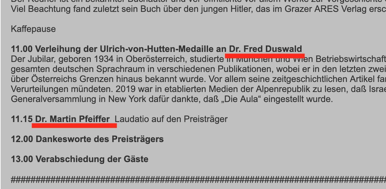 Progammauszug GfP 2019: Duswald erhält die Hutten-Medaille, Pfeiffer spricht die Laudatio