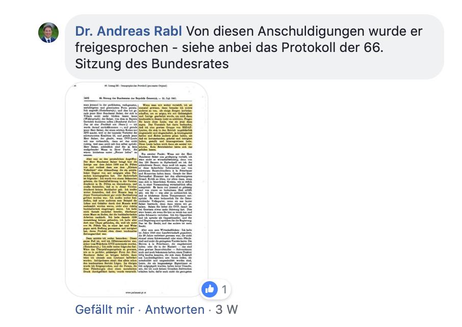 Andreas Rabl beruft sich auf die Rede seines Großvater im Bundesrat (Screenshot Facebook)