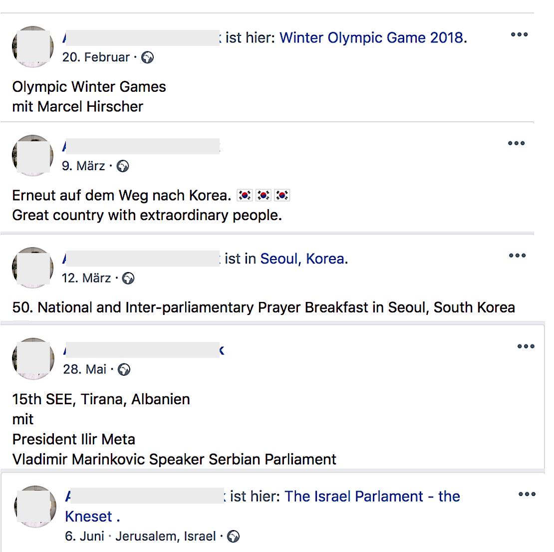 Reise des FPÖ-Ex-Abgeordnenten (Screenshots Facebook, Juni 2018)