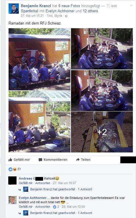"""Screenshot vom Bericht der Veranstaltung auf Facebook zur Dokumentation des gewählten Veranstaltungstitel (""""Ramadan...""""), des Veranstalters und der Teilnahme von Evelyn Achhorner"""
