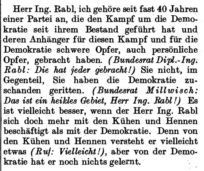 Rede Hans Riemer zu Max Rabl (Stenographisches Protokoll)