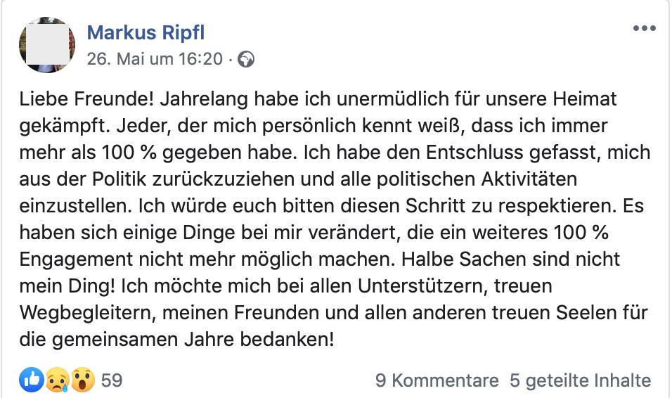 Ripfl verkündet seinen Rückzug aus der Politik
