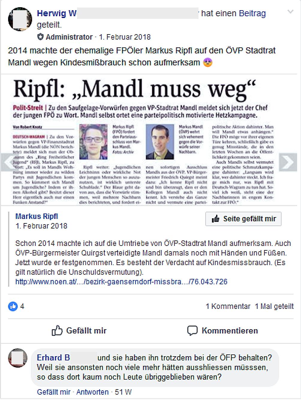 """Ripfl-Posting wird nach seinem Parteiausschluss in der Gruppe """"FPÖ Seitenadminitratoren"""" geteilt"""