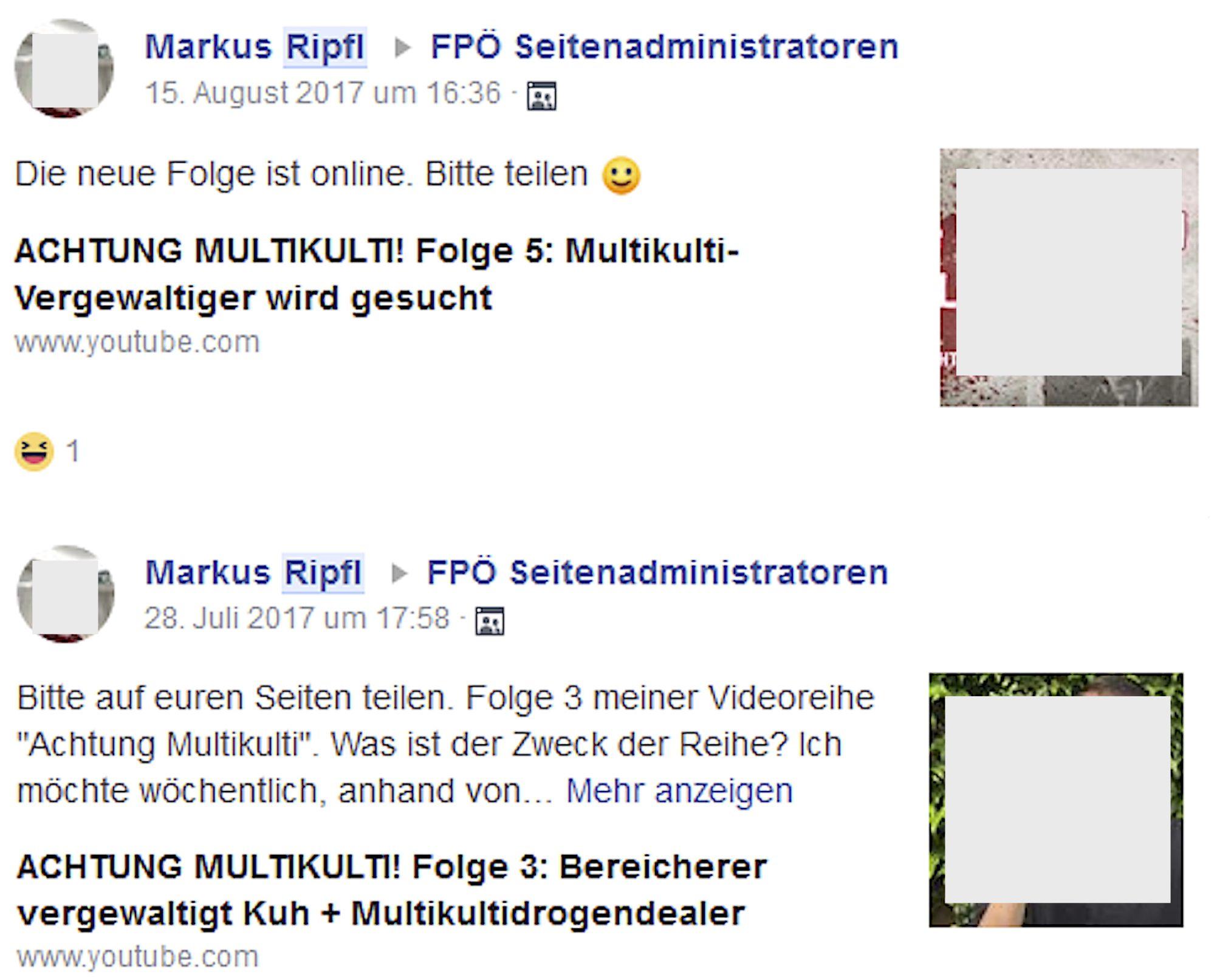 """Markus Ripfl wirbt in der Gruppe """"FPÖ Seitenadminitratoren"""" für seinen hetzerischen Youtube-Kanal"""