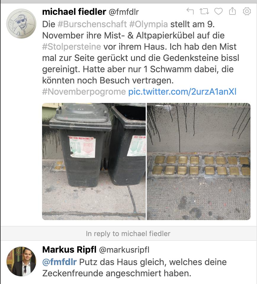 """Ripfls Kommentar zu den Mülltonnen auf den Gedenksteinen: """"Putz das Haus gleich, welches deine Zeckenfreunde angeschmiert haben."""""""