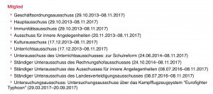 Ausschussmitgliedschaften Walter Rosenkranz GP XXV