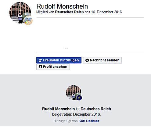 """Rudolf Monschein als Mitglied der Gruppe """"Deutsches Reich"""""""