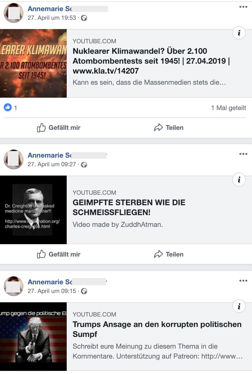 Tonalität auf FB-Account von S.: Verschwörungstheorien