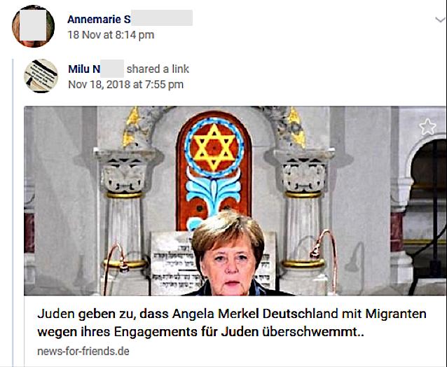 """S. postet Link zu: """"Juden geben zu, dass Angela Merkel Deustchland mit Migranten wegen ihres Engagemenst für Juden überschwemmt.."""" (vk.com)"""