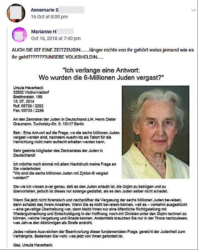 """S. teil die Holocaustleugnerin Ursula Haverbeck: """"Wo wurden die 6-Millionen Juden vergast?"""" (vk.com)"""