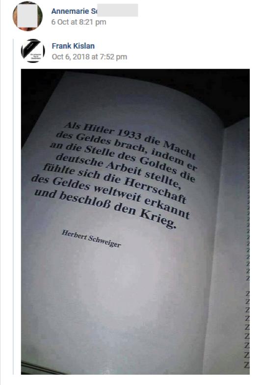 S. postet Bild mit Text vom Holocaustleugner Herbert Schweiger (vk.com 6.10.18)