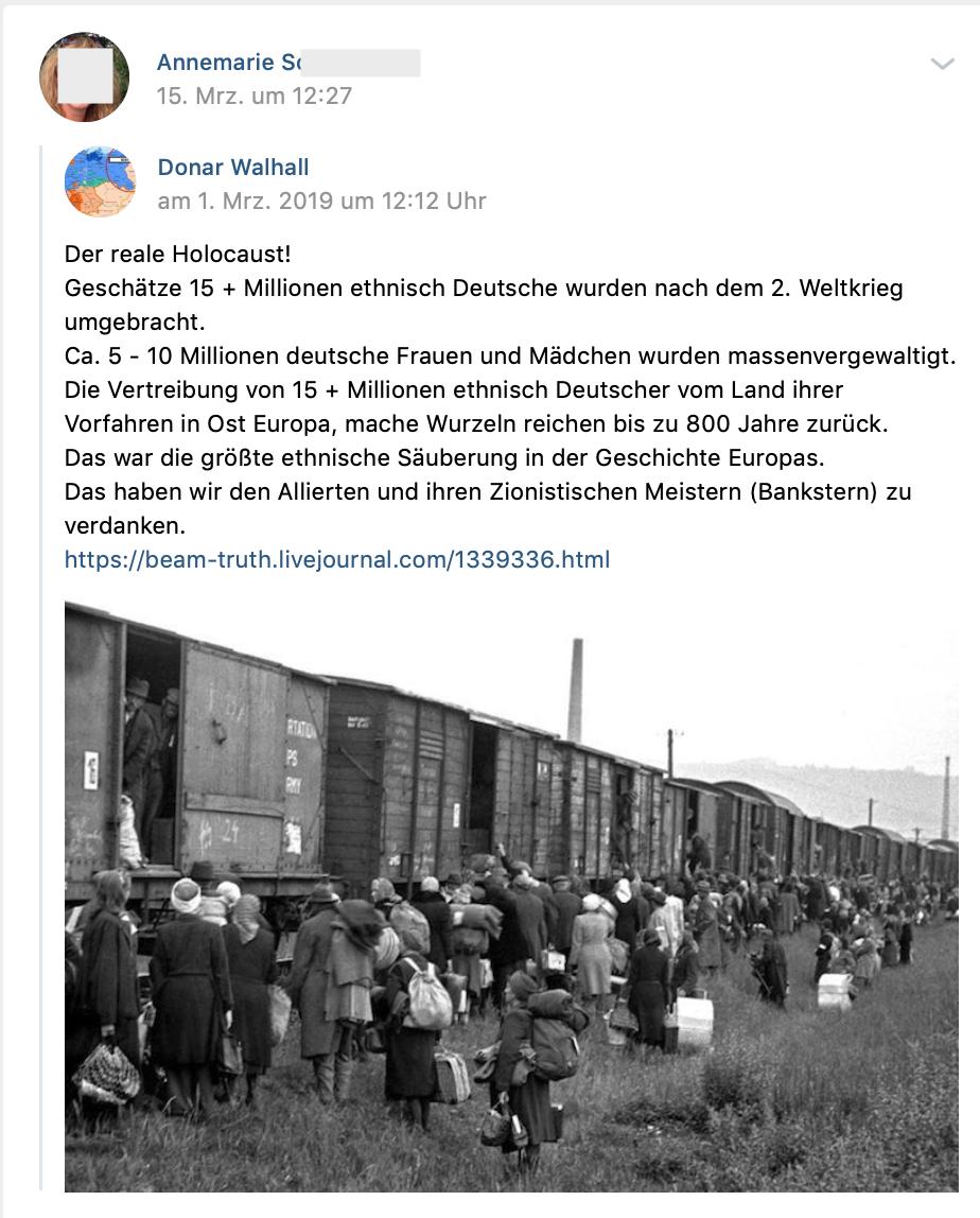 """""""Der realeHolocaust!Geschätze 15 + Millionen ethnisch Deutsche wurden nach dem 2. Weltkrieg umgebracht."""" (vk.com 15.3.19)"""