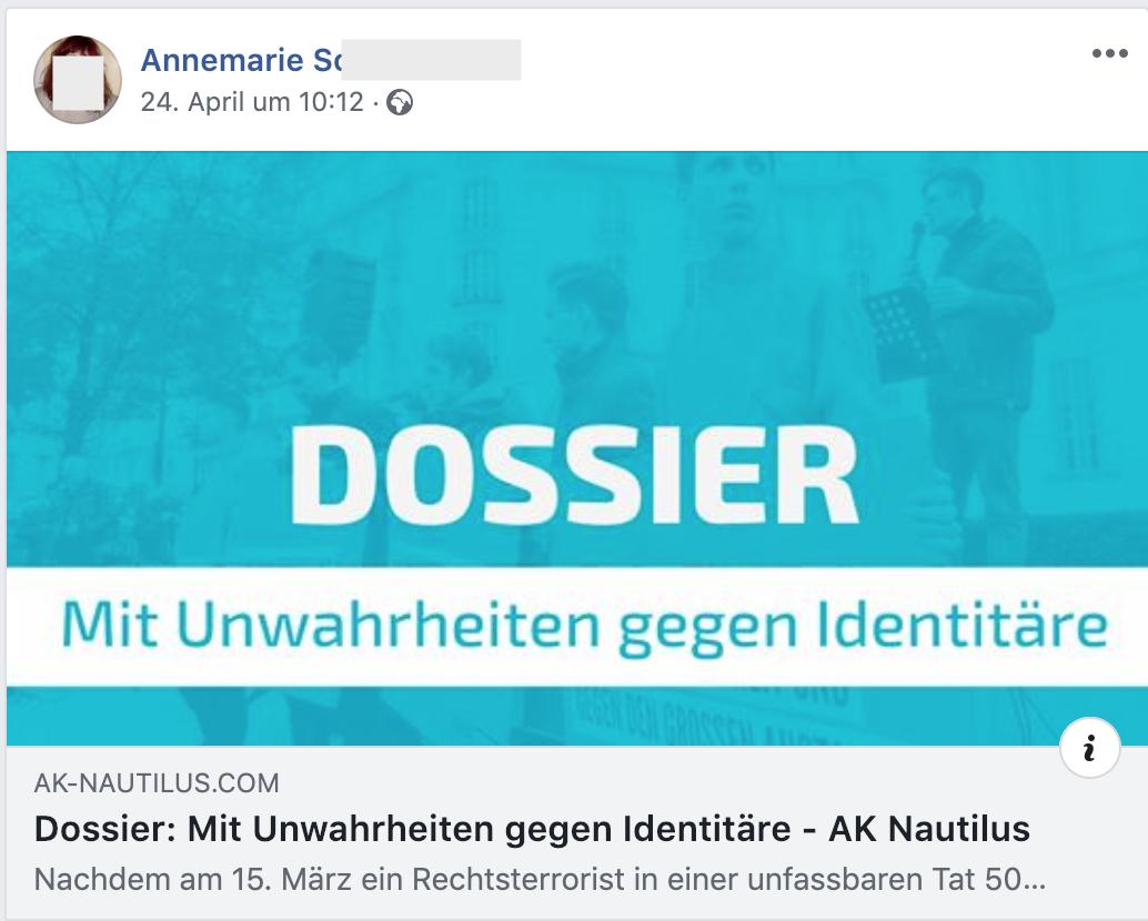 """""""Dossier: Mit Unwahrheiten gegen Identitäre"""" (FB 24.4.19)"""