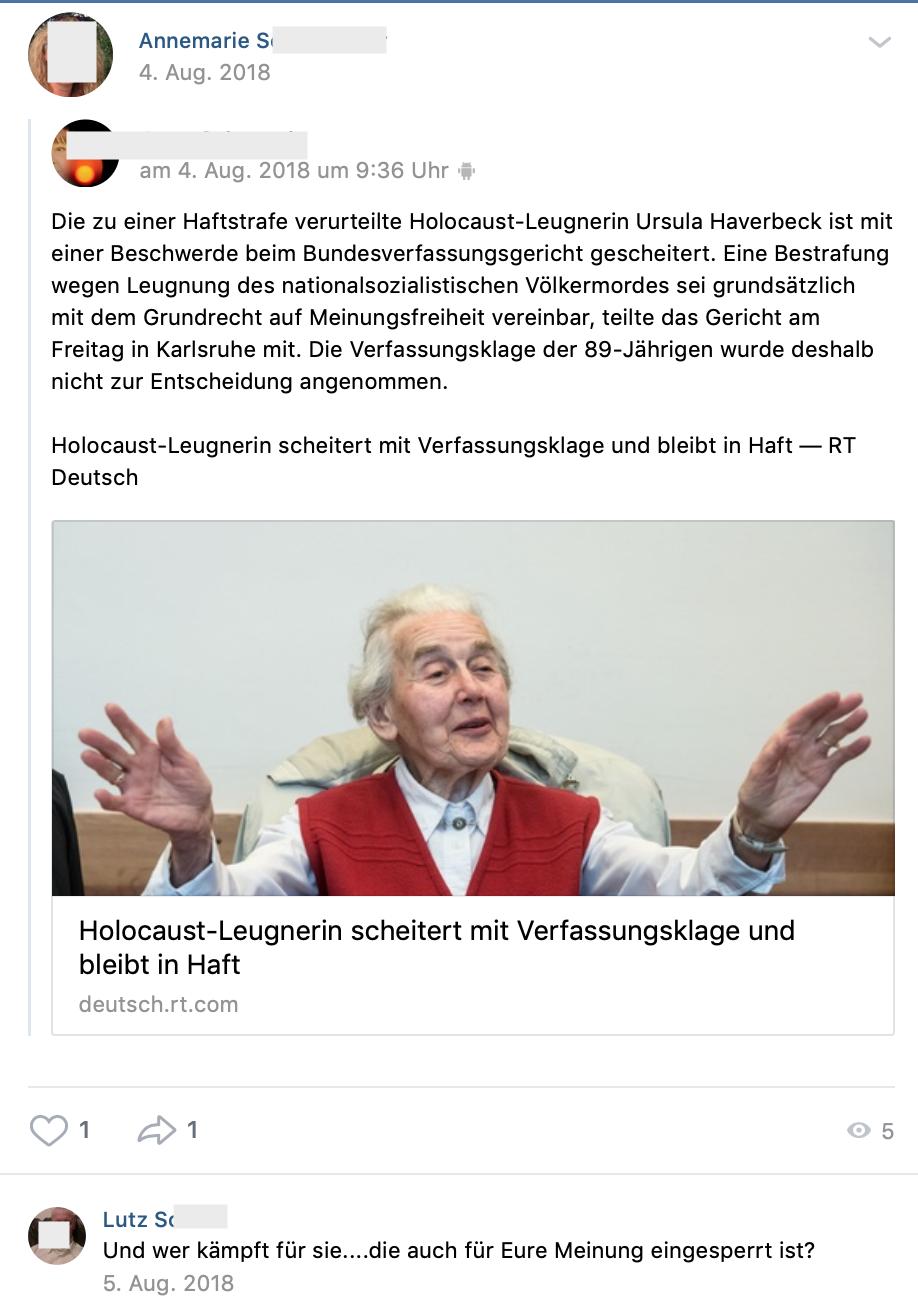 Meldung zur Holocaustleugnerin Ursula Haverbeck (vk.com 4.8.18)